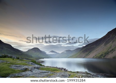 beautiful view of wastwater lake in the lake district, cumbria, england at sunset - stock photo