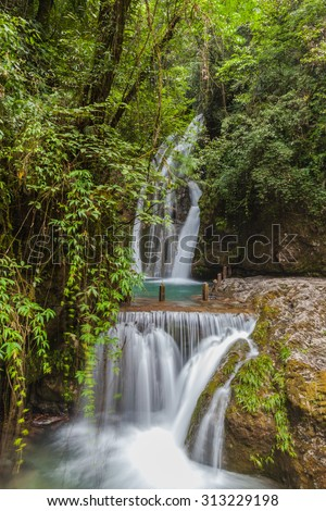 Beautiful view of waterfall in Qingcheng back mountain, near Chengdu, Sichuan Province, China. - stock photo