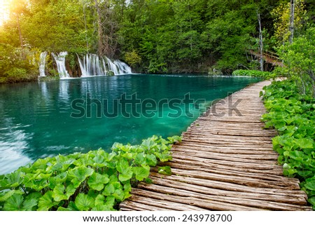 Beautiful view of waterfalls with turquoise water in Plitvice National park, Croatia, Europe - stock photo