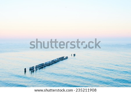 Beautiful view of winter frozen seashore of Baltic sea in Svetlogorsk Russia with purple line in horizon in moment of down - stock photo