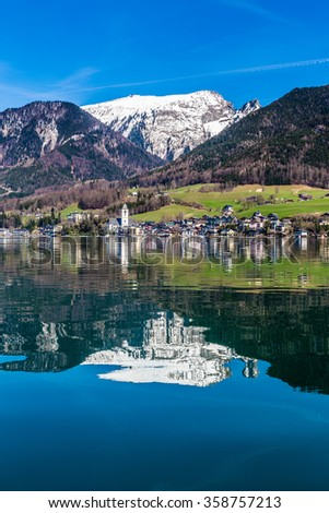 Sankt wolfgang im salzkammergut stock images royalty free images beautiful view of wolfgang lake with st wolfgang im salzkammergut and grosser hollkogel in the sciox Images