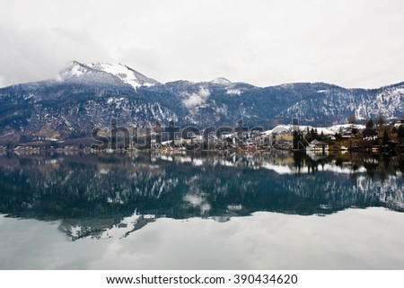 Beautiful view of Wolfgangsee lake and village St. Gilgen in austrian Alps - stock photo