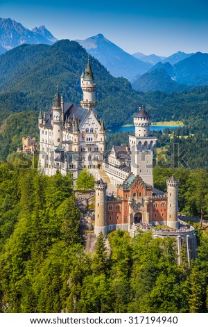 Beautiful view of world-famous Neuschwanstein Castle, the 19th century Romanesque Revival palace built for King Ludwig II, with scenic mountain landscape near Fussen, southwest Bavaria, Germany - stock photo