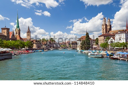 Beautiful view of Zurich and river Limmat, Switzerland - stock photo