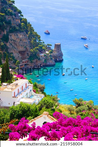 Beautiful view on Amalfi coast, Italy - stock photo