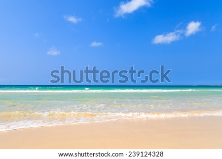 Beautiful view on beach and ocean, Boavista, Cape Verde - Cabo Verde - stock photo