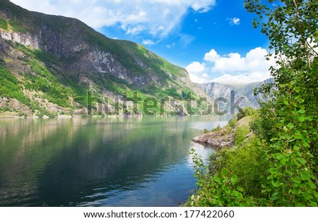 Beautiful view on fjord and mountains in northern Norway