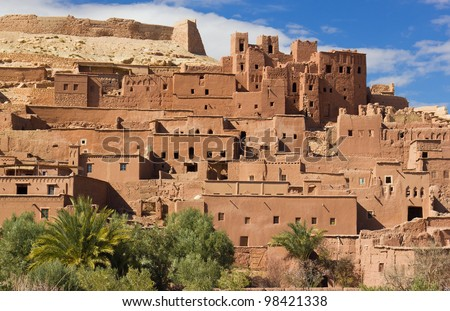beautiful view on kasbah Ait ben Haddou in Morocco - stock photo