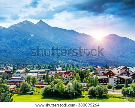 Beautiful view on little mountainous village, Seefeld in Tirol is an old farming village, major tourist resort in Innsbruck-Land District in Austria, Europe - stock photo