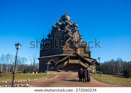Beautiful view on old russian wooden orthodox  church exterior  - stock photo