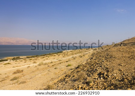 Beautiful view on the Dead sea beach and the coast on the other side of the sea, Israel