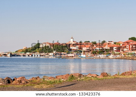 Beautiful view on the Nessebar, the ancient city and a major seaside resort on the Black Sea coast of Bulgaria.