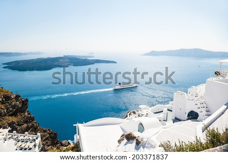 Beautiful view on the sea. White architecture on Santorini island, Greece
