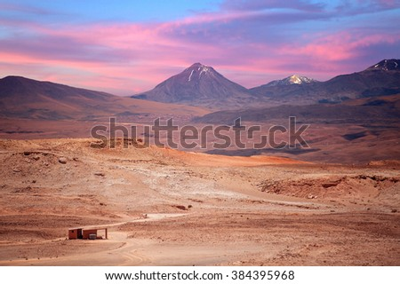 beautiful view on the volcano licancabur near San Pedro de Atacama, Chile, South America - stock photo