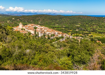 Beautiful View On The Whole City Of Ramatuelle and Surrounding Forest-France,Europe - stock photo