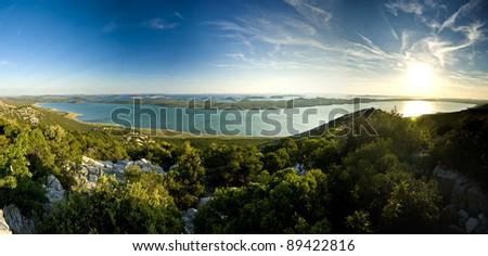 Beautiful view on Vrana lake and islands - stock photo