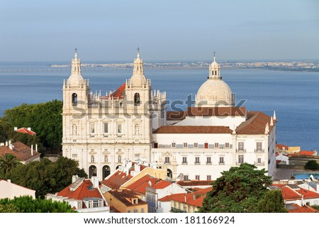 Beautiful view over Lisbon from the castle looking at the Monastery Vicente de fora and the Pantheon in Lisbon, Portugal