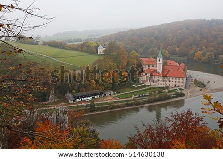Beautiful view over monastery at Danube river