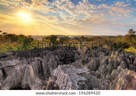 Beautiful view over national park 'Tsingy de Bemaraha' , a UNESCO world heritage site in Madagascar  - stock photo