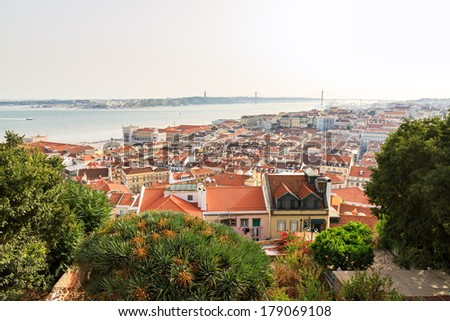 Beautiful view over the city of Lisbon, Portugal, from the castle.  - stock photo