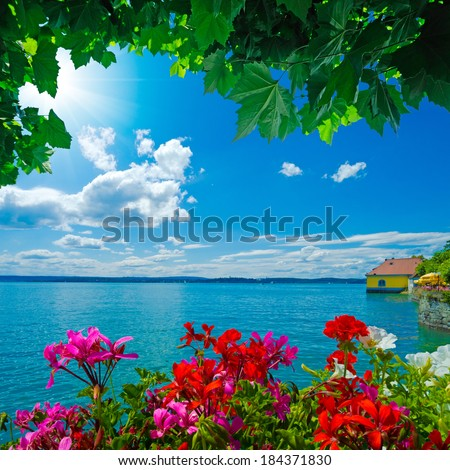beautiful view over the Lake Constance in Meersburg, Germany - stock photo