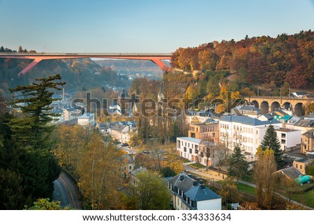Beautiful view over the Luxembourg city in autumn season - stock photo