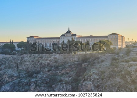 Beautiful view sunrising on the historic Infantry Academy, training center for the Spanish infantry in Toledo, Castilla La Mancha, Spain