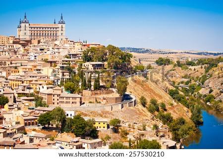 Beautiful view to Alkazar and river Tajo in Toledo, Spain - stock photo