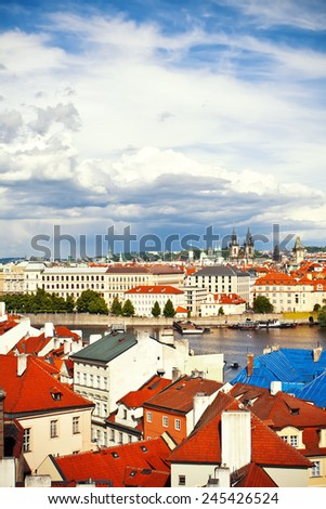 Beautiful view to Cathedral Holly Lady before Tyn and Prague castle, Czech Republic - stock photo