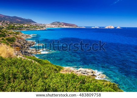 Beautiful view to coastline near Lile Rousse, Corsica, France, Europe.