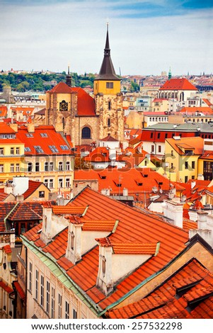 Beautiful view to Prague, Czech republic - stock photo