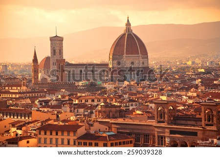 Beautiful view to Santa Maria del Fiore, Florence, Italy - stock photo