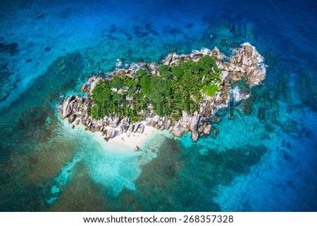 Beautiful view to Seychelles Coco island. - stock photo