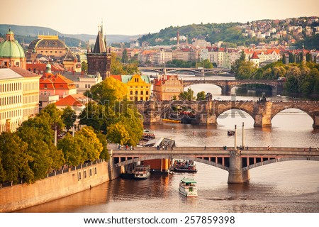 Beautiful view to Vltava and bridges in Prague, Czech republic - stock photo