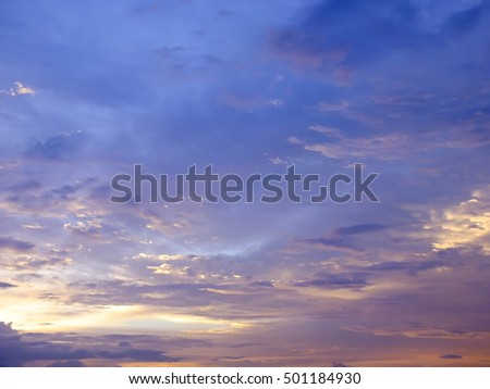 beautiful view , twilight and sunset with beautiful clouds , Thailand , Asia