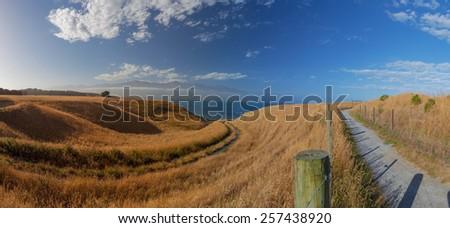 Beautiful views from Kaikoura Peninsula Walkway, Canterbury, New Zealand - stock photo