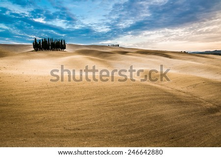 Beautiful views of autumn landscape in Tuscany - stock photo