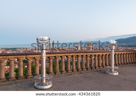 Beautiful views of Florence cityscape in the background Cathedral Santa Maria del Fiore at sunrise in Italy, Europe - stock photo