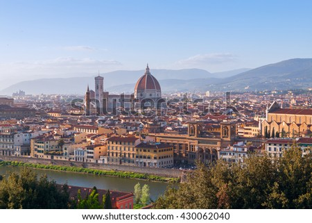 Beautiful views of Florence cityscape in the background Cathedral Santa Maria del Fiore in Italy, Europe - stock photo
