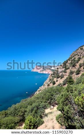 Beautiful views of the Mediterranean coast. - stock photo