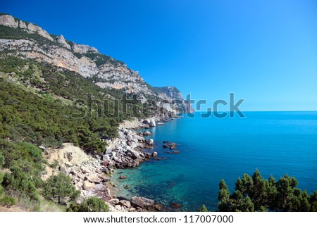 Beautiful views of the Mediterranean coast. - stock photo