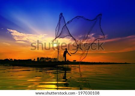 Beautiful views of the Mekong River lifestyle. Sunset - stock photo