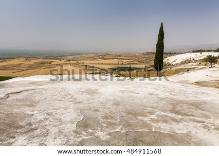 Beautiful views of the natural travertine pools and terraces, Pamukkale, Turkey
