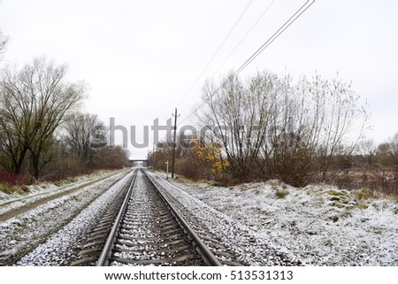 Beautiful views of the railroad in AMERICA in the winter