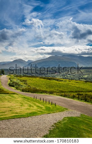 Beautiful views of the Scottish highlands in summer