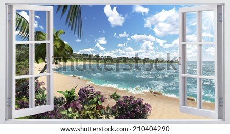 Beautiful views of the tropical island - stock photo