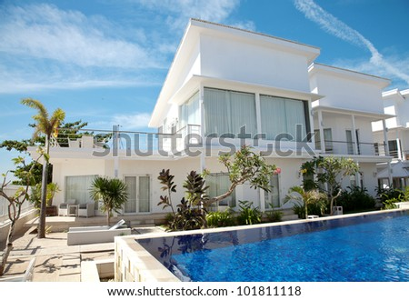 Beautiful villa with an own swimming pool - stock photo