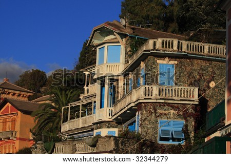 Beautiful villas with view on mediterranean in Levanto in Italy - stock photo