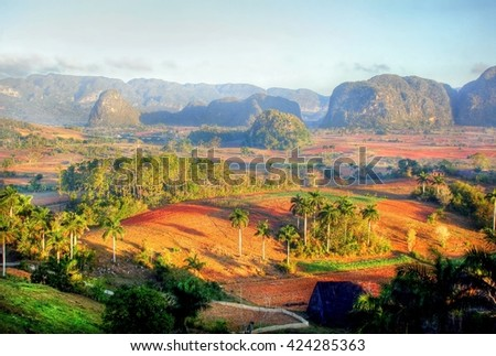 Beautiful Vinales Valley plantation , Cuba