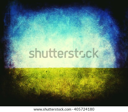 Beautiful vintage abstract nature wallpaper, sky and grass, textured retro colorful grunge background